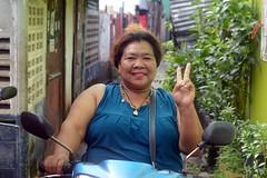 big mama on a motorcycle (the foreign photographer - ) Tags: sep252916sony big mama motorcycle peace sign khlong bang bua portraits bangkhen bangkok thailand nikon d3200