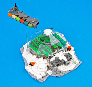 Freighter over Ice Planet Biodome