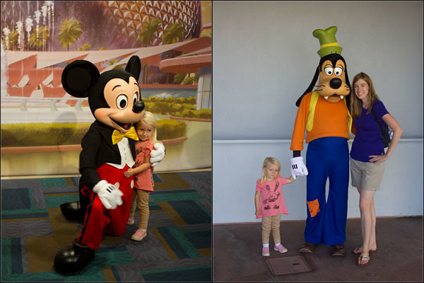 Miss L with Mickey & Goofy at Disney World, 2012