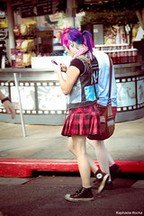 (Raphaela_R) Tags: street uk pink girls red people cute rock hair walking star cool nice punk all purple awesome hipster cellphone teenagers skirt retro freak converse indie hip pinkhair moviment chucktaylor iphone dyedhair coloredhair plaidskirt universalorlandoresort 5colorsinherhair