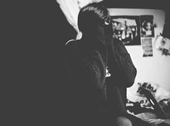 19/365 - Messy (Inelund) Tags: portrait blackandwhite bw white black girl norway dof emotion body expression bodylanguage explore hide photograph messy 365 language project365 365days macbook blackwhitephotos 365project canoneos5dmarkii