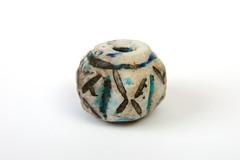 Quartz, glazed bead. Iran (hans0621) Tags: afghanistan iran persia bead quartz glazed sasanian blueandblack 43057 nishapur