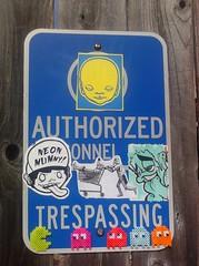 Authorized Trespassing. (V0ID_UN0) Tags: street blue art austin graffiti dallas stencil sticker paint texas paste wheat vinyl houston spray pack collab prints slap usps void trade thermal tops bombing