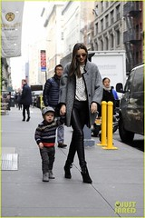 Miranda Kerr, Flynn Bloom (anastasija.milojevic) Tags: newyorkcity usa newyork hat sunglasses candid stripes fulllength son holdinghands booties stripedsweater leatherpants greyjacket ankleboots mirandakerr graycoat leatherleggings stripedjumper blackandwhiteblouse pvcleggings flynnbloom