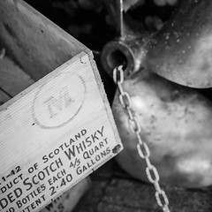 Boats and Booze (C-Shel) Tags: blackandwhite bw canon square boats antique whisky scotch crate prop canondigitalrebelxt sacketsharbor bsquare canonef50mmf18ii