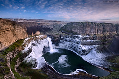 Winter at Palouse Falls (Dan Mihai) Tags: winter sunset snow texture ice nature water beautiful clouds landscape landscapes frozen waterfall washington sundown wideangle canyon falls freeze snakeriver rough washingtonstate basalt palouse palouseriver palousefalls palousefallsstatepark