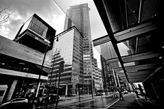 Vancouver Downtown Core (TOTORORO.RORO) Tags: street travel winter light blackandwhite bw canada cold reflection tourism wet monochrome rain skyline architecture vancouver buildings reflections shopping lens living blackwhite downtown day cityscape bc view zoom britishcolumbia sony wideangle center tourist exhibition rainy metropolis alpha popular raining visitor canadaplace f4 hdr attractions oss nex greatervancouver shawtower vancouverconventioncentre mirrorless 1018mm fairmontpacificrim nex6 sel1018