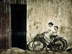 "Street art in George Town...""Little Children on a Bicycle"" (Rosanna Leung) Tags: streetart art bicycle wall mural georgetown malaysia penang    armenianstreet   flickrandroidapp:filter=none ernestzacharevic mirrorsgeorgetown"