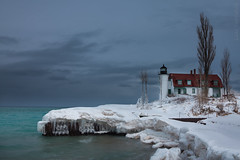 Point Betsie Lighthouse 1 (Luke Hertzfeld) Tags: trees winter lighthouse lake seascape ice water landscape outdoors pier waves michigan lakemichigan shore beacon icles