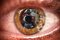 Paige Eye and My Reflect (Bstatic) Tags: macro eye self canon puerto photography photo picture rico reflect ii veins 60mm 430ex 40d