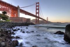 Smooth Surf at the Golden Gate (Andrew E. Larsen) Tags: sanfrancisco sunset water surf waves dusk smooth goldengatebridge goldengate sanfran papalars silkeffect gentlesun gentlesky andrewlarsenphotography