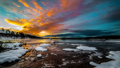 Let the day begin....(Explored) (Tore Thiis Fjeld) Tags: morning winter light sunset shadow sky panorama sun lake snow color ice water oslo norway clouds daylight nikon frost day cloudy horizon getty daybreak maridalen 14mm samyang maridalsvannet