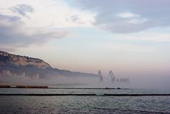 In the mist (nickodim) Tags: sea sky mist seascape fog 50mm pentax harbour scape k10d