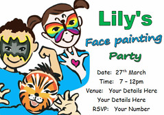 i112j face painting party invite (Locketmaid) Tags: show birthday girls boy party castle beach boys girl face kids painting balloons disco kid puppet slumber clown magic climbing invitation childrens invite bouncy sleepover invites invitations magician