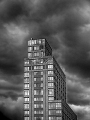 Clouds and Highrise (robertdanielullmann) Tags: blackandwhite architecture clouds highrise skyandclouds robertdanielullmann cloudsandhighrise
