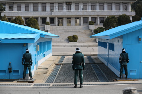 From flickr.com: South Korean Soldiers at the Joint Security Area (JSA) facing the North Korean side of the border. {MID-164001}
