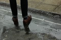 """ (Marcus Yau) Tags: street man detail reflection wet rain station grate 50mm shoes legs tube platform jeans whitechapel eastlondon turnups brogues 550d olympuszuiko"