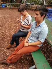 Tina and Quetzal (Of_Disintegration) Tags: friends music musicians bench women couple sitting farm candid tina sweetwater quetzal tinaandherpony