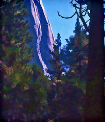 El Capitan through trees (ForestPath) Tags: california trees sunlight bluesky yosemite 1986 elcapitan scannedslide cliffface hss topazsimplify sliderssunday