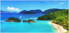 Alluring Caribbean Island with a Heart (Simon__X) Tags: ocean travel cruise flowers blue trees sea vacation sky panorama sun mountain holiday seascape tree simon love beach nature water beauty sunshine clouds sailboat swimming sunrise palms landscape island coast harbor boat interestingness interesting san