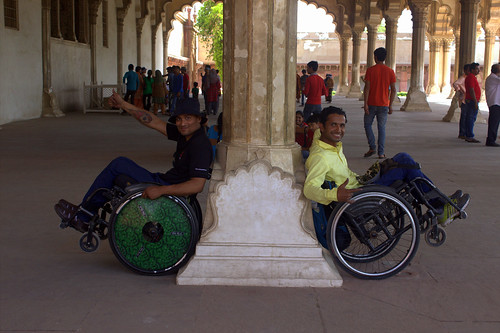 Accessible Tour to Agra: Two wheelchair users posing for the perfect shot.