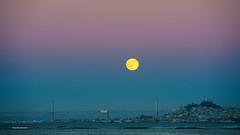 Full Moon (davidyuweb) Tags: bridge light sky moon yellow bay san francisco line full sfist luckysnapshot