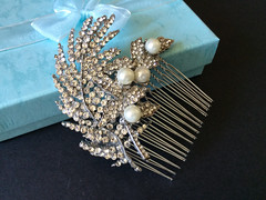 Romantic feathers Swarovski rhinestones crystals and pearls wedding bridal hair comb (weddingvalle) Tags: wedding weddings hair comb headpiece pearls rhinestone crytals swarovski brides bridal weddingvalle handmade prom statement romantic fashion style feminine deluxe