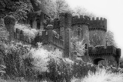Gwyrch Castle (Shot Yield Photography) Tags: wales uk greatbritain british welsh gwyrch castle gwyrchcastle ruins exploration derelict dereliction decay abandoned medieval premises building architecture remains historic creepy scary spooky eerie place haunted dark mystic mysterious atmosphere dream like dreamlike picture shot yield foto photo image black white monochrome ir infra red infrared photography shotyieldphotography