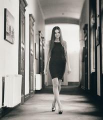 R_N_114 (raf6x6) Tags: blackwhite lithprint lith moersch se5 pentaconsix 80mm biometar orwo lemberg lwiw student hallway gangway hotel george vanishing point sowjet architecture beautiful beauty elegant female girl woman mediumformat model portrait