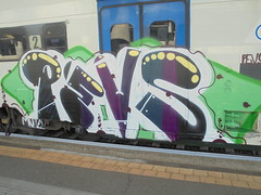 077 (en-ri) Tags: schick pevs crew bianco viola verde train torino graffiti writing