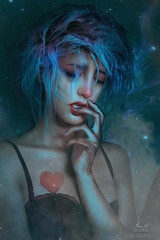 Megan (Megan Glc Photographe) Tags: photoshoot collaboration magical self selfportrait girl sad sadness sweet stars editing surreal fantasy heart emotion blue hair photoshop manipulation