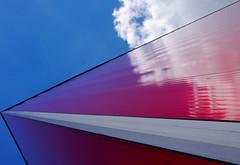 POWer. (Warmoezenier) Tags: architecture building centrale cloud diagonaal gebouw kracht power rood skihal terneuzen wolk zeeland