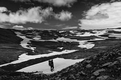 On the Fimmvrduhls Hike (JoshyWindsor) Tags: iceland canonef24105mmf4l fimmvrduhls travel hiking tramping blackwhite outdoors canoneos6d europe holiday snow