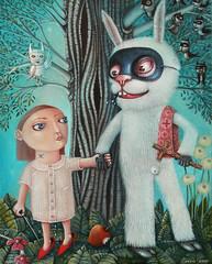 Surreal art by Peca (JamesGoblin) Tags: mystery wood tree rabbit wallpapers wallpaper posters poster illustrations illustrate illustration mysticism symbolic symbol mystical spiritual art surrealism surreal artwork paint painting girl apple myth