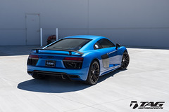 2017 R8 V10 Plus with HRE P104 in Satin Bronze and TAG Painted Calipers (TAGMotorsports) Tags: tag tagmotorsports hre wheels p104 satin bronze audi r8 2017 v10 plus akrapovic exhaust cosmetic package painted calipers neidfaktor wheel carbon steering