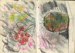 "study of vase with flowers in sketch-book. On counter. World cafe • <a style=""font-size:0.8em;"" href=""http://www.flickr.com/photos/91814165@N02/8358424654/"" target=""_blank"">View on Flickr</a>"