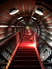 Red Stairs Revisited (DaveKav) Tags: red modern stairs climb metallic space tunnel olympus goingup e510 theonlywayisup ultrahero