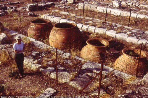 Ancient Hittite Hattuşa.  Huge storage jars at the Great Temple.