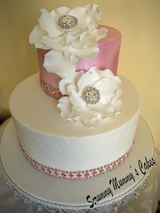 Fantasy Flower Wedding Cake 4 (Scrummy Mummy's Cakes) Tags: white weddingcake twotier fantasyflower pearlpink jeweltrim
