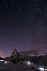 Matterhorn (boscoppa) Tags: sunset mountain snow alps night way stars matterhorn milky riffelberg visp