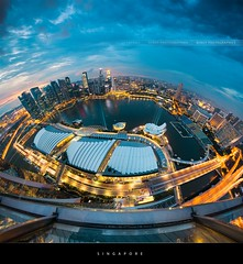 Singapore (Beboy_photographies) Tags: blue sunset fish eye night marina bay singapore view angle wide aerial fisheye hour singapour