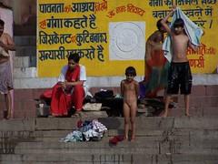 Ganga baths (3) by Rik de Goede - People bathing in the Ganga, Varanasi