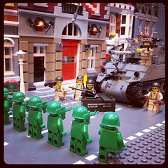 It's a Toy Soldier Uprising! (GI Brick) Tags: men brick green square toy soldier tank lego story squareformat bazooka hudson gi browning brickarms m1919 brickmania iphoneography instagramapp uploaded:by=instagram