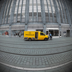 cash transport services open day (fotobananas) Tags: urban opportunity money lines yellow pen landscape concrete sunday transport saturday tram olympus security fisheye cash bremen van temptation highstreet walimex karstadt cliche ep1 sliders openday hss hcs prosegur obernstrasse takethemoneyandrun geldtransport microfourthirds fotobananas