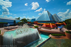 Journey to Imagination (Scottwdw) Tags: travel blue vacation sky people reflection water glass guests clouds waterfall orlando epcot florida steel wideangle fountains reverse monorail waltdisneyworld uwa futureworld journeyintoimagination tokinaatx116prodxaf1116mmf28 scottthomasphotography