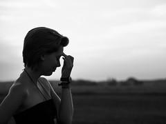 Think! (Locsmandisz) Tags: sunset blackandwhite bw girl look hair dof emotion bokeh olympus minimal shorthair grayscale omd em5 1stbw