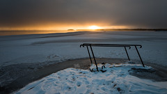 The winter version (- David Olsson -) Tags: winter sunset lake snow cold ice nature water landscape intense nikon stair sundown cloudy sweden tripod january footprints freezing karlstad ladder railing fx 169 vnern d800 vrmland 1635 revisited 1635mm lakescape trappa stege revisit skutberget 2013 davidolsson 1635vr