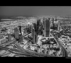 Sheikh Zayed Road - Dubai (vegarste) Tags: road sea bw building tower architecture skyscraper observation nikon dubai view uae middleeast system deck zayed khalifa highrise roads sheikh unitedarabemirates hdr burj persiangulf d800 photomatix tonemapping 5xp 5exp