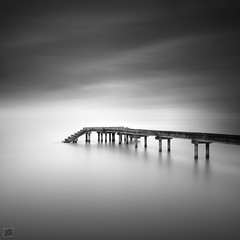 Travel to infinity (Shahrulnizam KS) Tags: longexposure bridge shadow sea blackandwhite bw cloud seascape monochrome rock rural concrete pier amazing movement nikon silent wind infinity jetty fineart great smooth tranquility le malaysia slowshutter end minimalist tranquil bnw silky lansdscape nd400 malaysianphotographer nikond90 extremelongexposure concretejetty shahrulnizamks