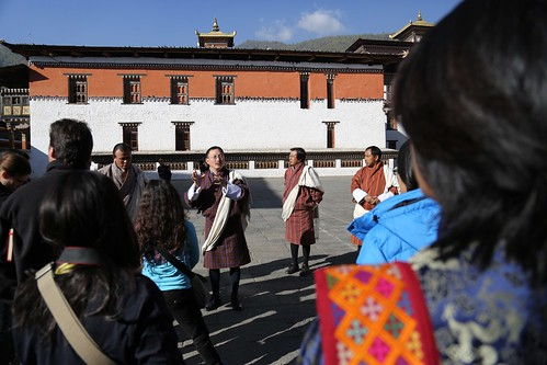 Architect Karma Gelay talks to students about dzong design (Thimphu, Bhutan)